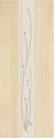 Дверь пвх  Глория межкомнатная глухая с матированной зеркальной вставкой с рисунком, беленый дуб