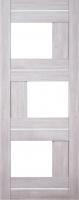 Дверь Экошпон Стиль  3 (S-3) межкомнатная со стеклом (стекло белое матовое ) и молдингом, беленый дуб