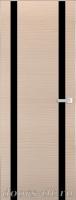 Дверь Экошпон ЭЛИТ Q 9 межкомнатная глухая со стеклом триплекс черное, беленый дуб
