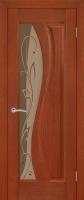 Дверь Изумруд шпонированная межкомнатная со стеклом, темный орех