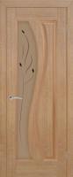 Дверь Изумруд шпонированная межкомнатная со стеклом, светлый анегри