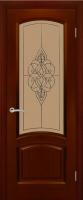 Дверь Александрит шпонированная межкомнатная со стеклом, сапель