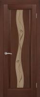 Дверь Гиацинт шпонированная межкомнатная со стеклом, каштан