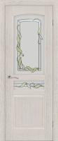 Дверь Назонит шпонированная межкомнатная со стеклом, дуб натуральный молочный
