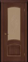 Дверь Агат II шпонированная межкомнатная со стеклом, каштан