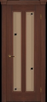 Дверь Крит II шпонированная межкомнатная со стеклом, каштан