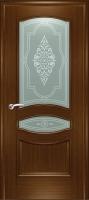 Дверь Наполеон-багет шпонированная межкомнатная со стеклом 2, орех