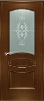 Дверь Наполеон-багет шпонированная межкомнатная со стеклом, орех