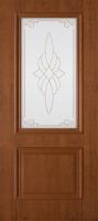 Дверь пвх  Дуэт межкомнатная со стеклом (стекло белое матовое с рисунком), темный орех